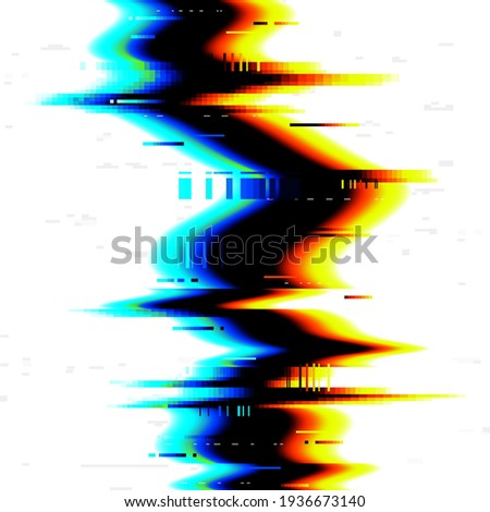 Glitch, digital TV effect, noise of VHS on screen error, vector background. Glitch on computer screen, static video pixels, broken signal and dynamic distortion on monitor, television monitor Foto stock ©