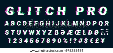 Glitch distorted font letter set with broken pixel effect. Vector retro video game alphabet. Old distorted TV matrix effect.