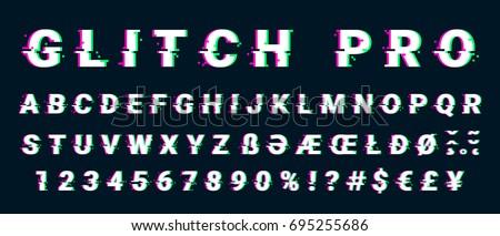 Glitch distorted font letter set with broken pixel effect. Vector retro video game alphabet. Old distorted TV matrix effect.
