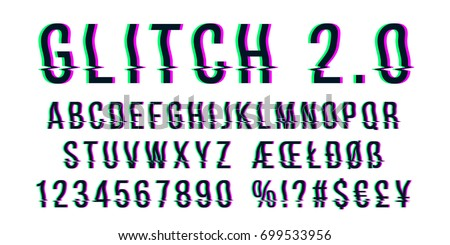 Glitch distorted font letter set with broken pixel wave clutter effect. Vector retro video game alphabet. Old distorted TV matrix effect stock photo