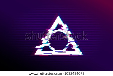 Glitch effect circle in triangle. Vector illustration. Distorted glitch style modern background. Glow design for banner, poster, card, flyer, brochure.