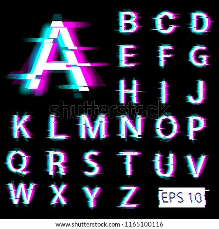 Glitch english alphabet. Distorted letters with broken pixel effect. Vector. EPS 10.