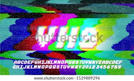 Glitch Error VHS vector phrase in pixel art style with screen glitch static  noise. RGB Color illustration. Retro alphabet font. TV television disturbances screen. Basic platform. Occasional pixels.