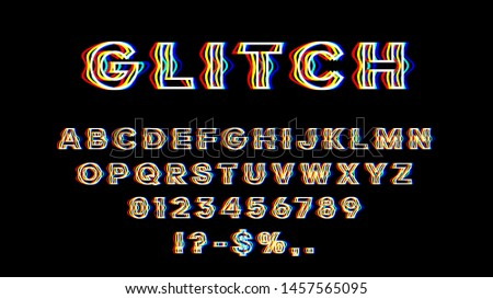 Glitch font with distortion effect. English letters, numbers and symbols with glitch effect. Yellow, red and blue channels. Eps 10