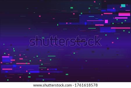 Glitch futuristic background. Random color shapes. Digital noise effect. Data disintegration. Broken pixel screen. Distorted stream of elements. Vector illustration. Сток-фото ©