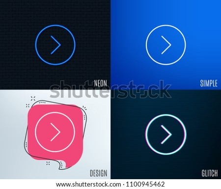 Glitch, Neon effect. Forward arrow line icon. Next Arrowhead symbol. Next navigation pointer sign. Trendy flat geometric designs. Vector