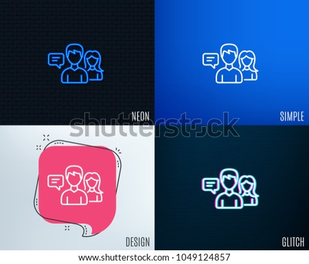 Glitch, Neon effect. People talking line icon. Conversation sign. Communication speech bubbles symbol. Trendy flat geometric designs. Vector