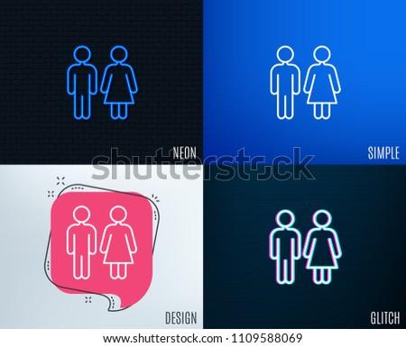 Glitch, Neon effect. Restroom line icon. WC toilet sign. Public lavatory symbol. Trendy flat geometric designs. Vector