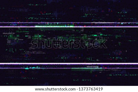 Glitch no signal. Digital distortions with color pixel noise. VHS background with distorted lines. Video problem concept. Video game glitch. TV screen pause. Vector illustration.