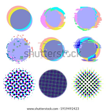 Glitch noise distortion and halftone texture backgrounds set. Vector elements with chromatic aberration for fashion illustration design stock photo