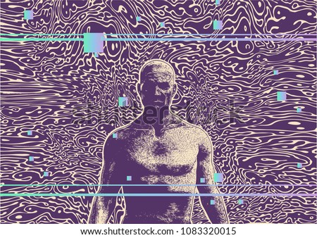 Glitch Party Poster With Man And Glitchid Pattern Design Elements. Abstract retro background. Vector Illustration.