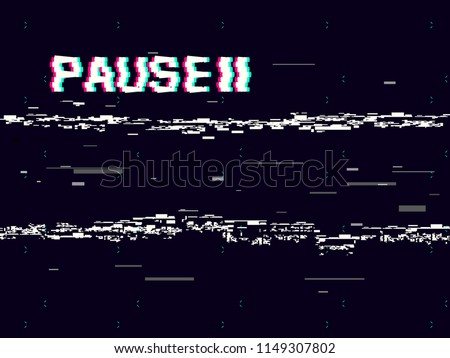 Glitch pause with symbol on dark background. Retro VHS backdrop. Abstract white distortions. Video cassette effect. Vector illustration.