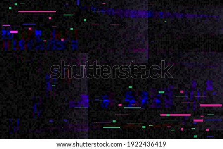 Glitch pixel distortion. Digital video with color noise. Futuristic backdrop with distorted elements. Video problem template. Game glitch screen. Vector illustration.