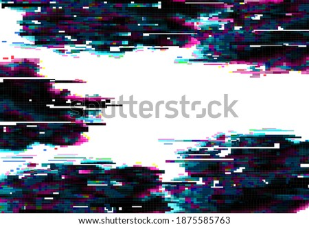 Glitch pixels vector abstract background, distorted glitched colored and neon glowing frame with random pixels on dark and white backdrop. Television distortion with glitch effect, no signal tv screen Foto stock ©