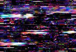 Glitch screen background, TV signal loss or monitor fail. Square color pixels noise vector backdrop. Television broadcast fail, program error or bug, broken computer screen effect