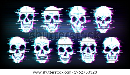 Glitch skulls vector distorted neon glowing pixelized craniums or jolly roger. Trippy digital art, horror, dead heads on black background. Television messy distortion or vhs tape glitch effect stock photo