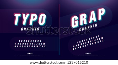 Glitched alphabet font design. headline, typeface, logo, italic fonts letters and numbers. typography technology design concept