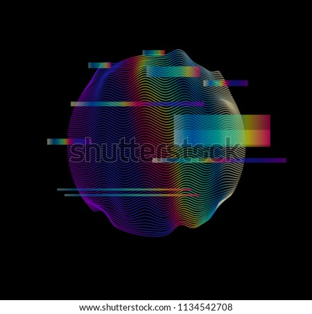 Glitched holographic 3D sphere on dark background. Webpunk or virtual reality illustration concept. Vaporwave/ synthwave style, 80s-90s aesthetic.