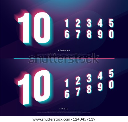 Glitched numbers alphabet font design. Number headline, typeface, logo, fonts letters and numbers. typography technology design concept