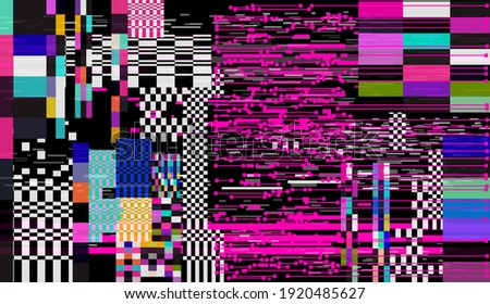 Glitched retro VHS screen with flickers and broken pixels. Old-fashioned retrowave style background. Foto stock ©