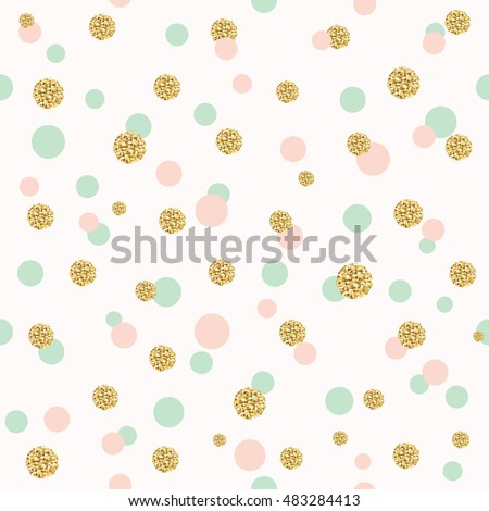 Glitter confetti polka dot seamless pattern background. Golden, pink and blue trendy colors. Girly.