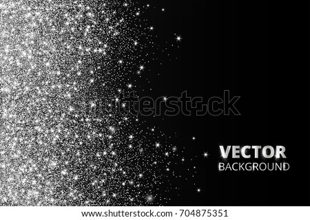 Glitter confetti, snow falling from the side. Vector silver dust, explosion on black background. Sparkling border, frame. Great for wedding invitations, party posters, Christmas and birthday cards.