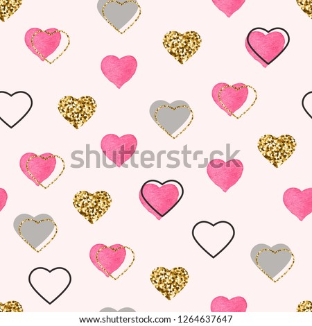 Glitter gold and watercolor pink hearts seamless pattern. Valentines Day background. Bright doodle heart confetti. Romantic wallpaper design with symbol of love. Vector illustration.
