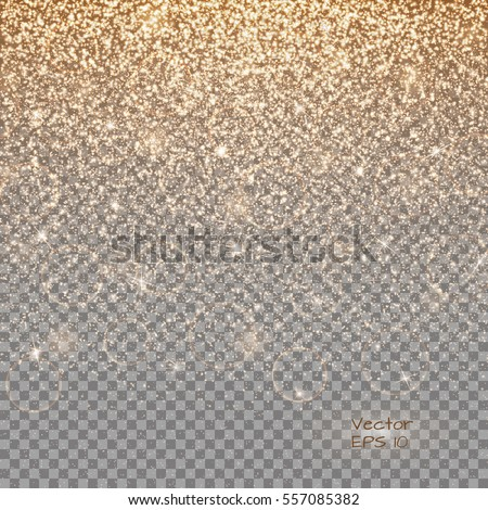 Glitter gold background with dazzling lights. Sequins pattern on a transparent backdrop.