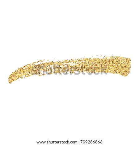 Glitter gold brush stroke. Illustration of hand drawn gold brush stroke. Vector design element.