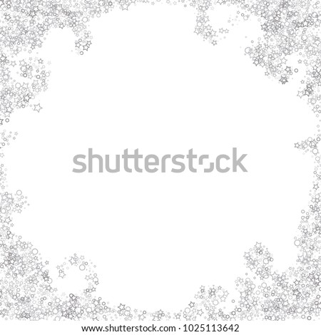 Glitter gray elements, Stars, sequins, rings, sprocket, circle confetti. Scattered little silver, random tinsel, falling on black background. New Year and Christmas background. Vector illustration. #1025113642