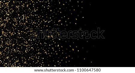 Glitter of golden particles of confetti on a black background. Illustration of chaotically falling shiny particles. Decorative element. Luxury background for your design, cards, invitations, gift, vip