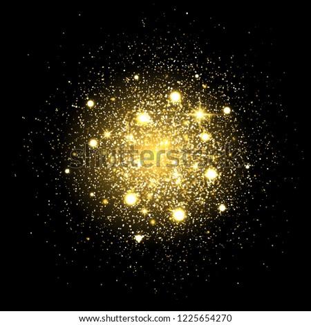 Glitter particles background. Gold glitter powder explosion. Star dust on black backdrop. Golden particles splash or shimmer burst. Sparkling texture. Lights bokeh and sparkles. Vector Illustration.