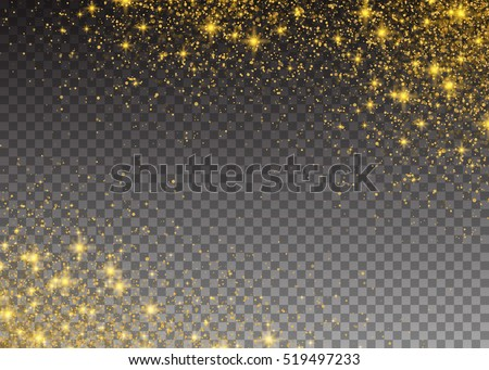 Glitter particles effect. Gold glittering Space star dust trail sparkling particles on transparent background. Vector illustration