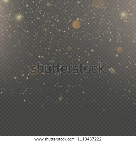 Glitter particles overlay effect. Gold glittering star dust sparkling particles on transparent background. EPS 10