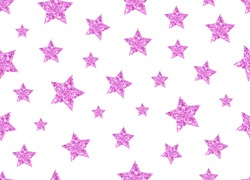 Glitter pink stars background. Seamless  vector illustration. Design for poster, website, cards, logo, print, wrapping, etc. More stars patterns in my collection.