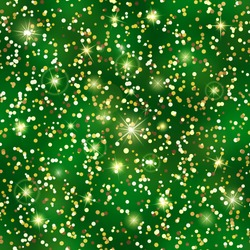 Glitter seamless pattern. Golden confetti texture. Luxury gold particles. Holiday Endless pattern made of sparkling sequins on green background. Festive decor for postcard, certificate, gift voucher.