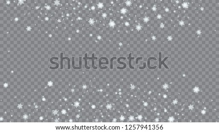 Glitter snowflakes background. Bbright, White, Shimmer, Glowing, Scatter, Falling background. Festive decoration Christmas banner. Transparent base.