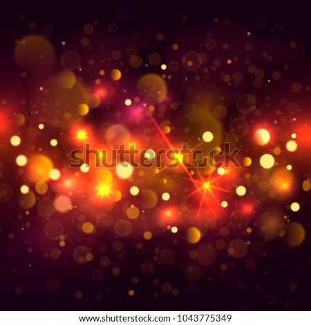 Glittering bokeh background. Illustration of glittering bokeh blots on dark background. #1043775349