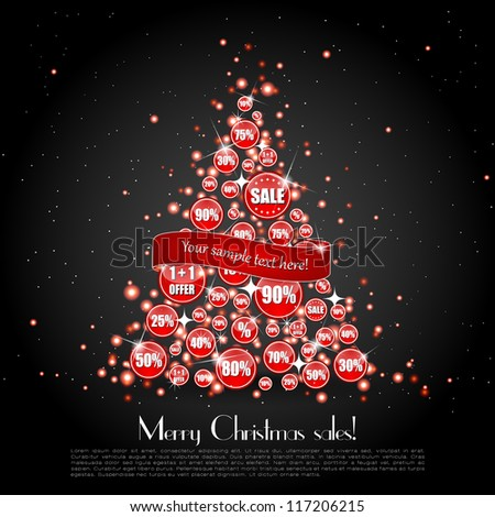 Glittering Christmas tree made of sale banners with a ribbon over it on a black background - stock vector