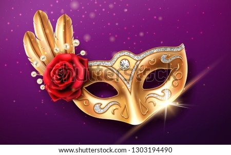 Glittering colombina mask for face cover at carnival or masquerade. Festival costume part with feather and beads, rose flower. Golden masque with diamonds for brazil festive or venice mardi gras.