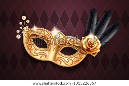 Glittering colombina mask for face cover at carnival or masquerade. Festival costume part with feather and beads, gold rose flower. Golden masque with diamonds for brazil festive or venice mardi gras.