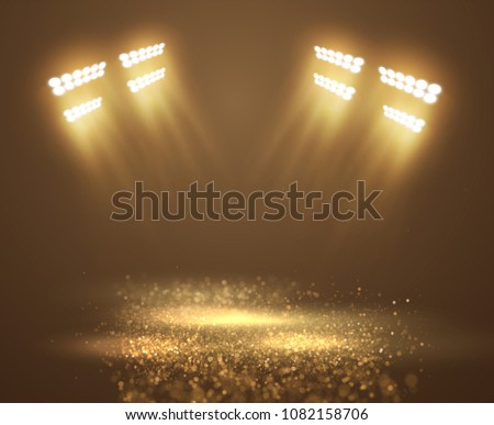 Glittering dust spotlight, stage light with shiny particles on the floor. vector eps10.
