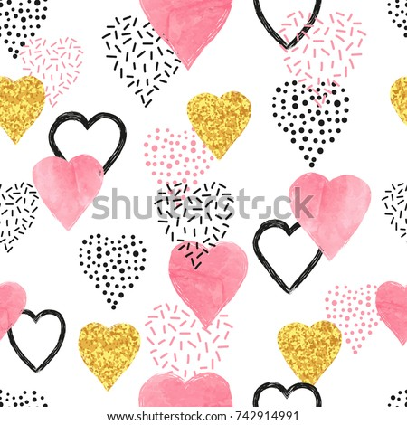 Glittering gold and watercolor pink hearts pattern. Valentines Day seamless background.