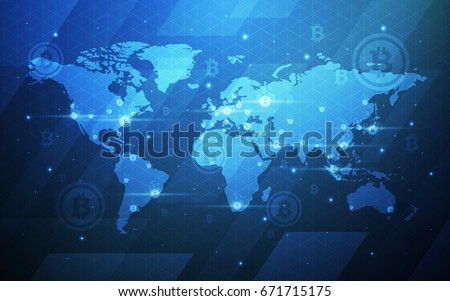 Global Abstract Bitcoin Crypto Currency Technology World Map Background Illustration