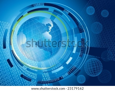 global binary background with green ring surrounding earth, vector illustration