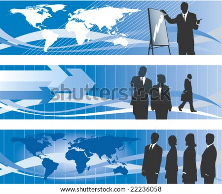 Global business banner set 2 vector