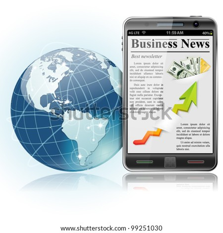 Global Business Concept. Business News on Smart Phone with Earth and communication lines, vector