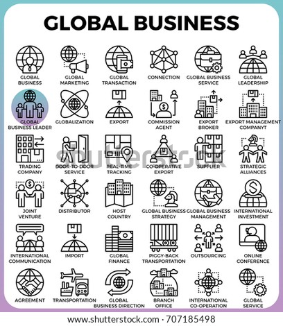 Global business concept detailed line icons set in modern line icon style for ui, ux, website, web, app graphic design