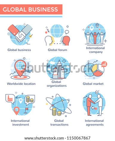 Global business concept icons, thin line, flat design
