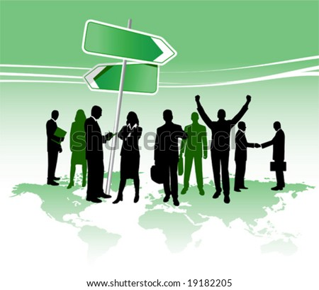 Global business. Group of business persons, vector illustration